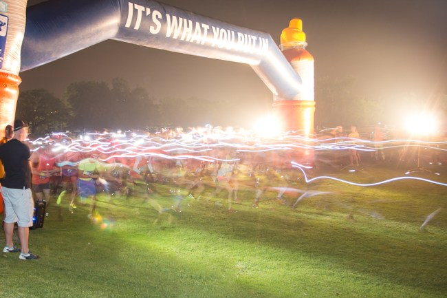 The start of a night trail run at Country Club Johannesburg