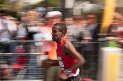 Panning technique used to capture London Marathon runner at full speed