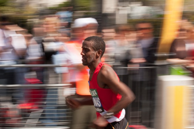 Panning technique used to capture London Marathon runner at full speed