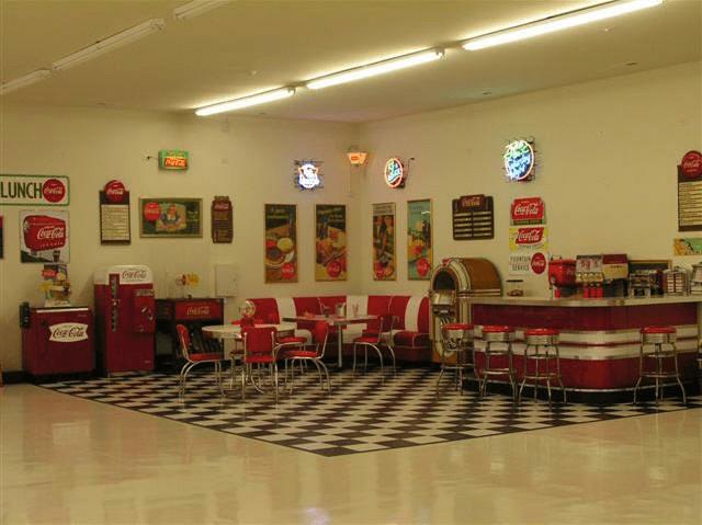 Lewis Retro Garage Bar Diner Booths Jukebox Soda Machine