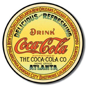 COKE - Round Keg Label Tin Sign