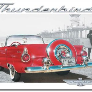 T-BIRD Beach Scene Tin Sign