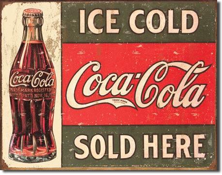 COKE - c.1916 Ice Cold Tin Sign