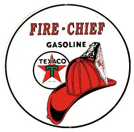 Texaco/Fire Chief Round Tin Sign