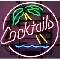 Cocktails & Palm Tree Neon Sign