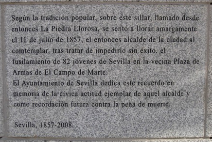 curiosities in seville tearful stone plaque