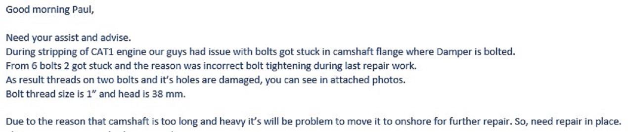 Crankshaft thread repair email