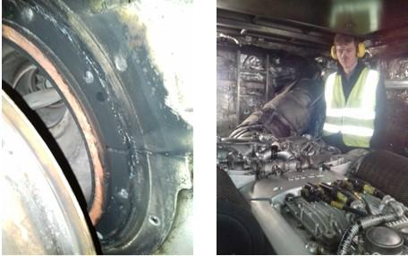 Exhaust leak on MTU 12V2000 engine
