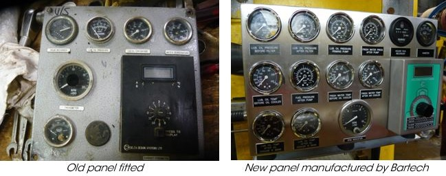 Engine Gauge Panel made by Bartech to replace old engine gauge panel
