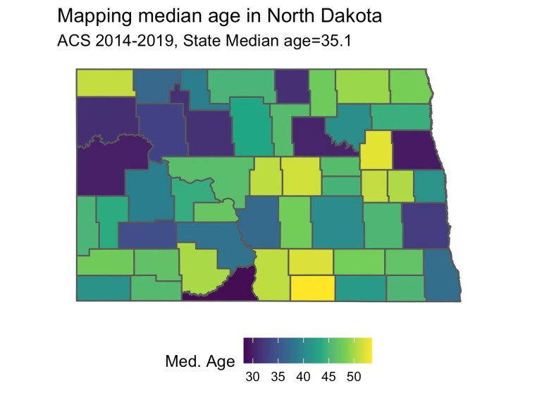 Median Age for North Dakota Counties
