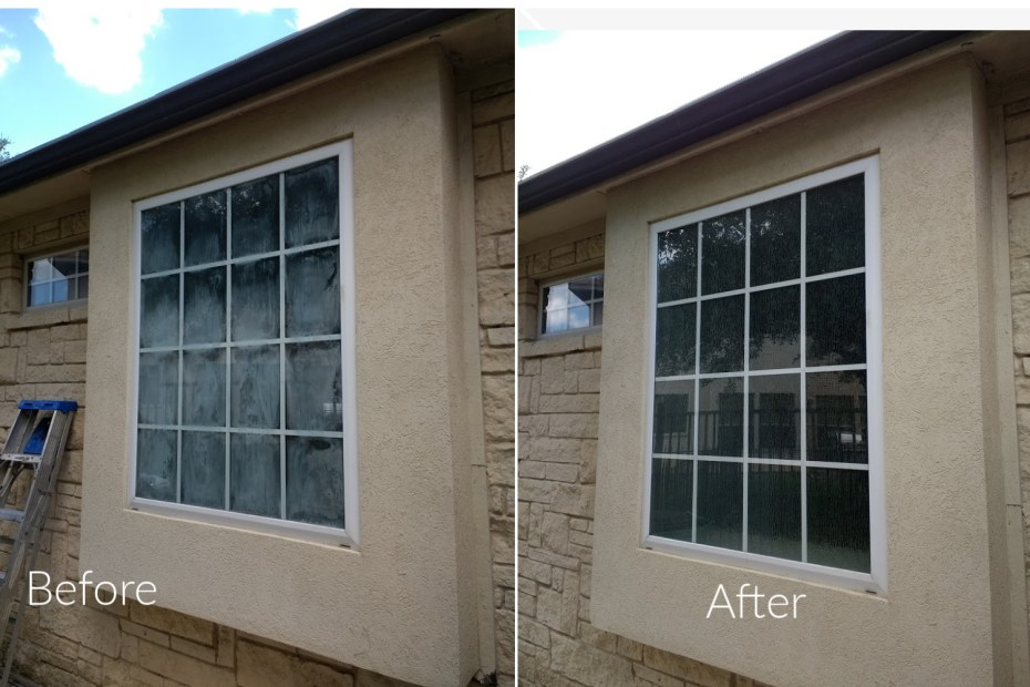 Shows fogged window before and replacement glass after.