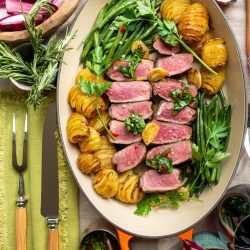 Rose veal with hassleback potato and chimichurri