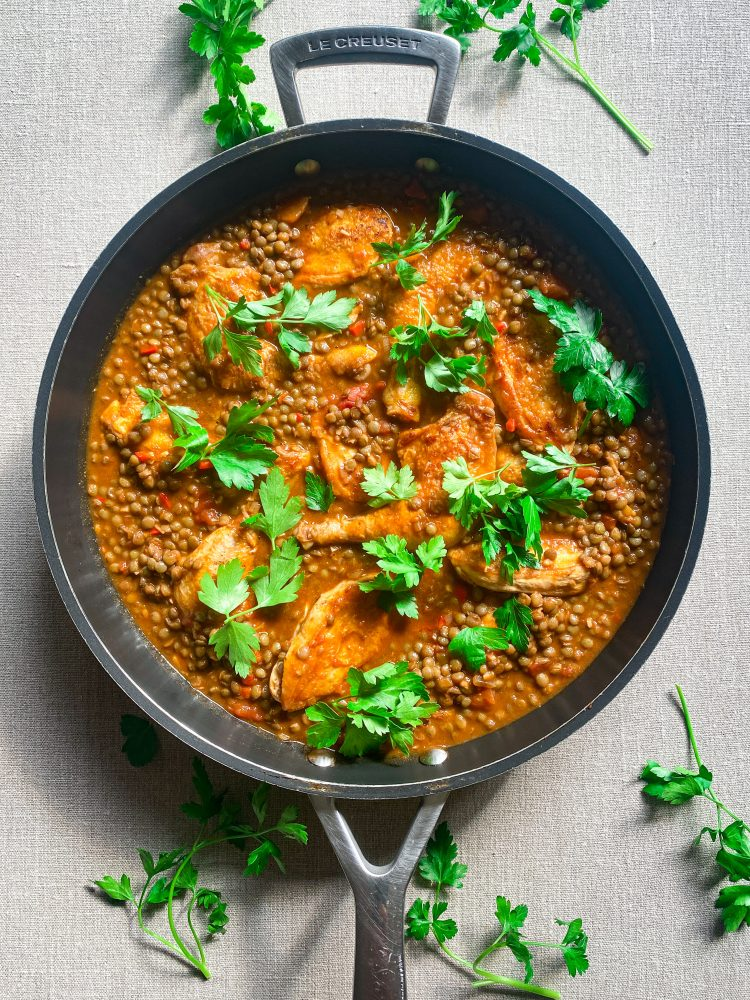 Poussin chicken and lentil stew