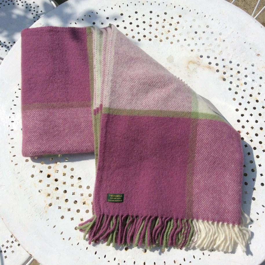 Pure New Wool, British Made Throw/Blanket - Raspberry ...