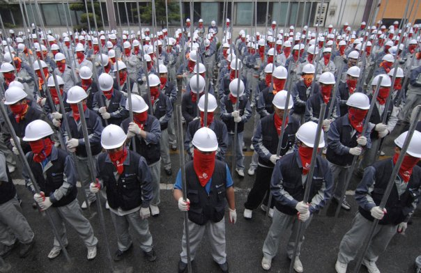 I lavorati sud coreani in sciopero