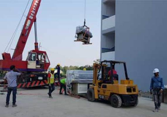 Industries machinery moving