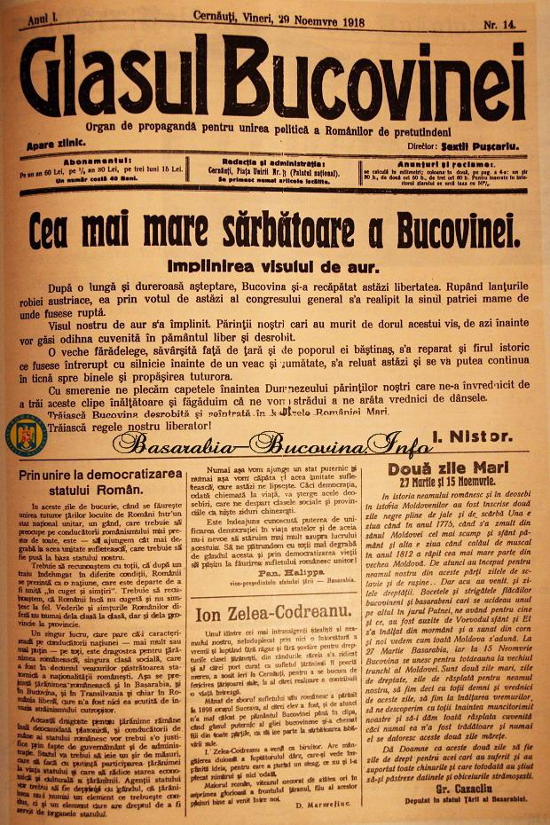 9 Glasul Bucovinei despre Unirea cu Romania - Nistor - Halippa - Codreanu - Basarabia-Bucovina.Info