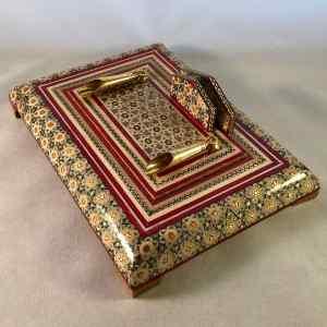 Persischer Stift- und Briefhalter für zwei Stifte, aufwändig von Hand mit Einlegearbeiten (Khatam Kari) verziert