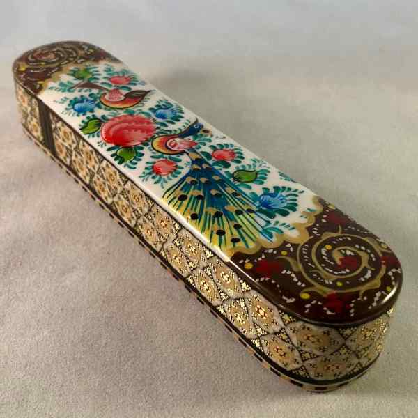 Stifte-Box mit persischer Khatam-Verzierung, handbemalt mit Vögeln und Blumen