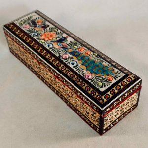Stifte-Box in persischem Khatam-Stil bunt verziert mit zwei Vögeln