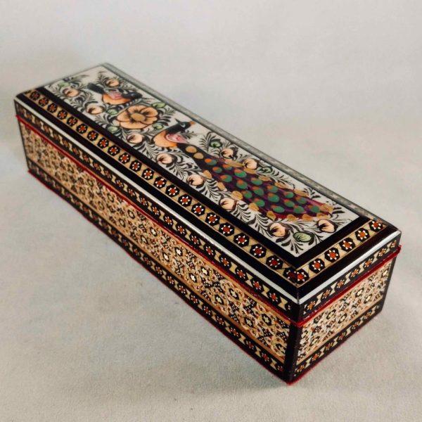 Stifte-Box in persischem Khatam-Stil, bunt verziert mit zwei Vögeln und Blumen
