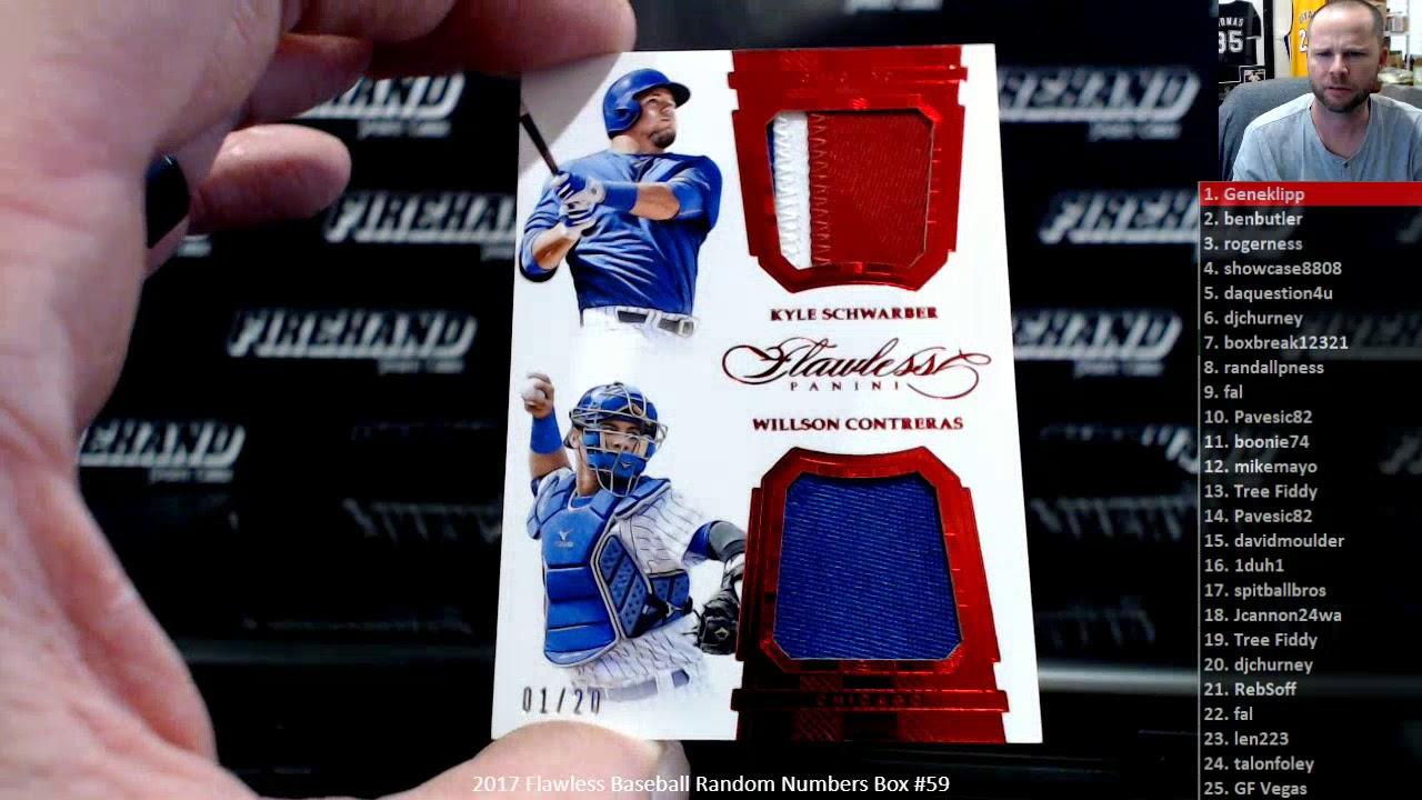 2017 Flawless Baseball Random Numbers Box 59 33120 - 2017 Flawless Baseball Random Numbers Box #59 ~ 3/31/20