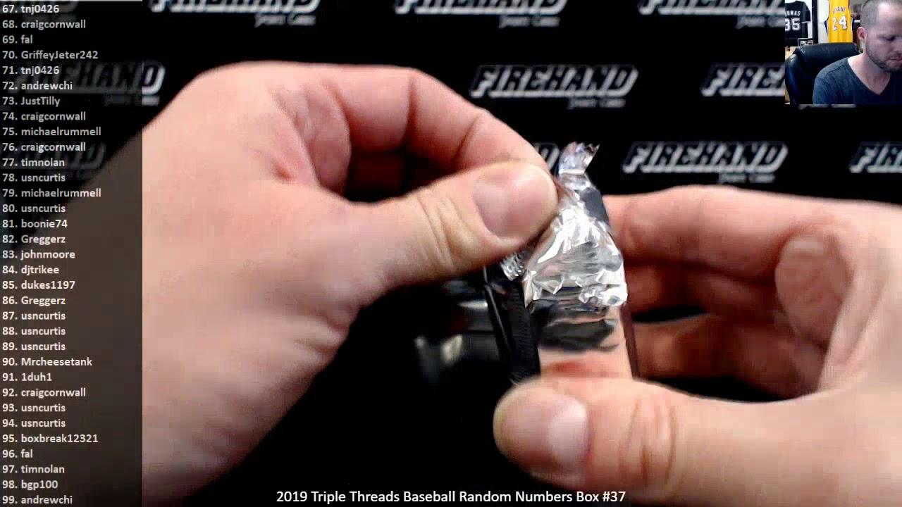 2019 Triple Threads Baseball Random Numbers Box 37 5120 - 2019 Triple Threads Baseball Random Numbers Box #37 ~ 5/1/20