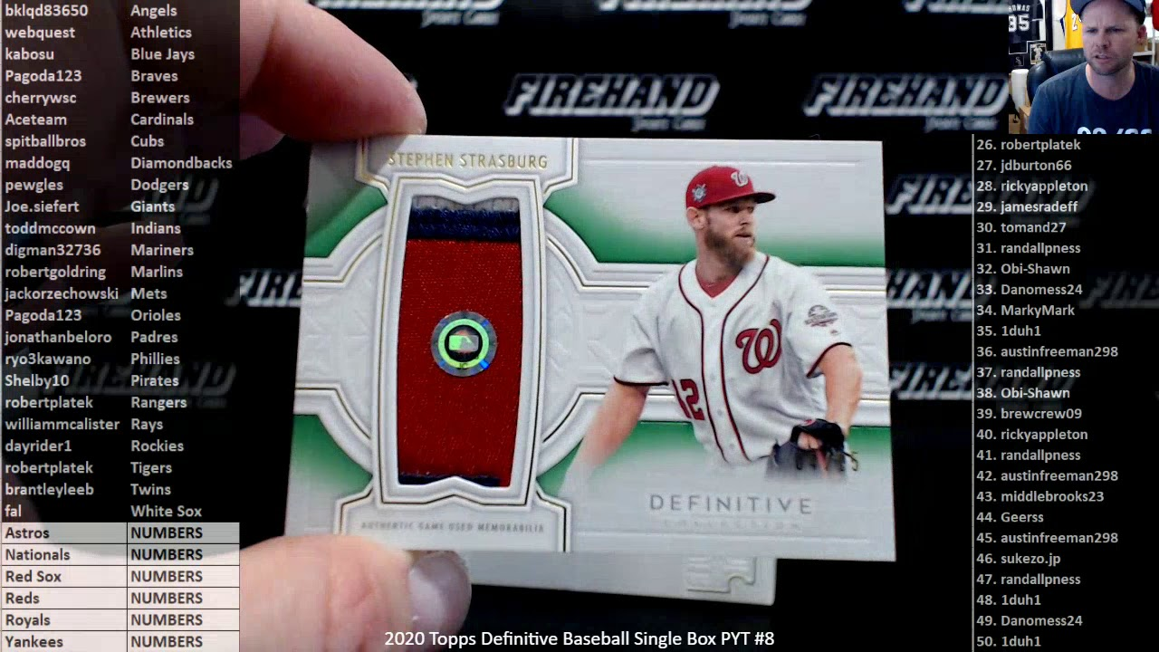 2020 Topps Definitive Baseball Single Box PYT 8 5820 - 2020 Topps Definitive Baseball Single Box PYT #8 ~ 5//8/20