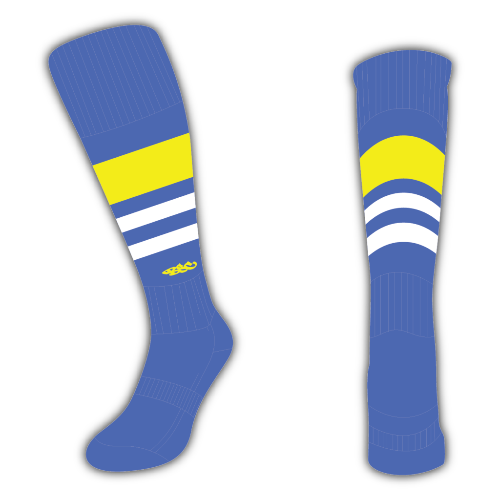 Wildcard Socks - Royal Blue, Yellow & White
