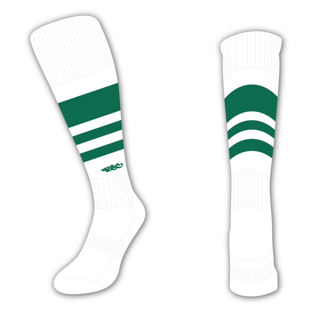 Wildcard Socks - White & Bottle Green
