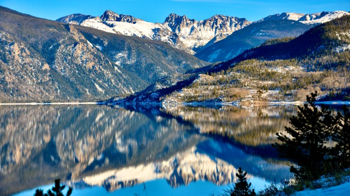 Lake Granby looking into the Indian Peaks