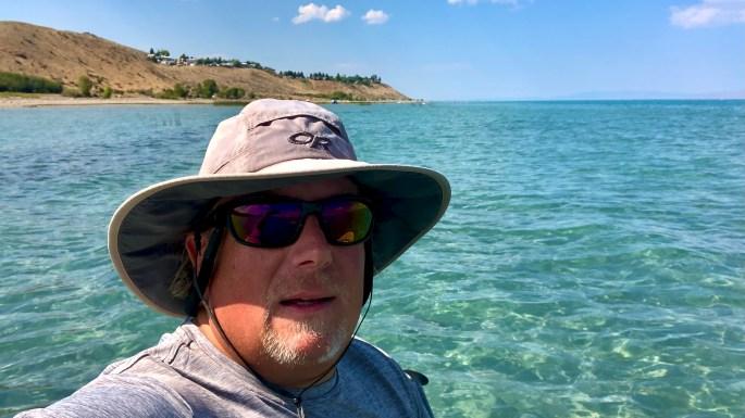 Paddleboarding along the western shore of Bear Lake, Utah ~ Utah & Wyoming Windy Adventures ~ Bear Lake, Utah/Idaho