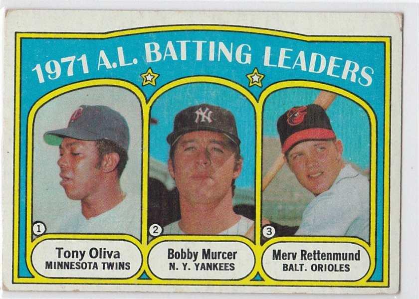 1972 Topps Batting Leaders Tony Oliva, Bobby Murcer, Merv Rettenmund