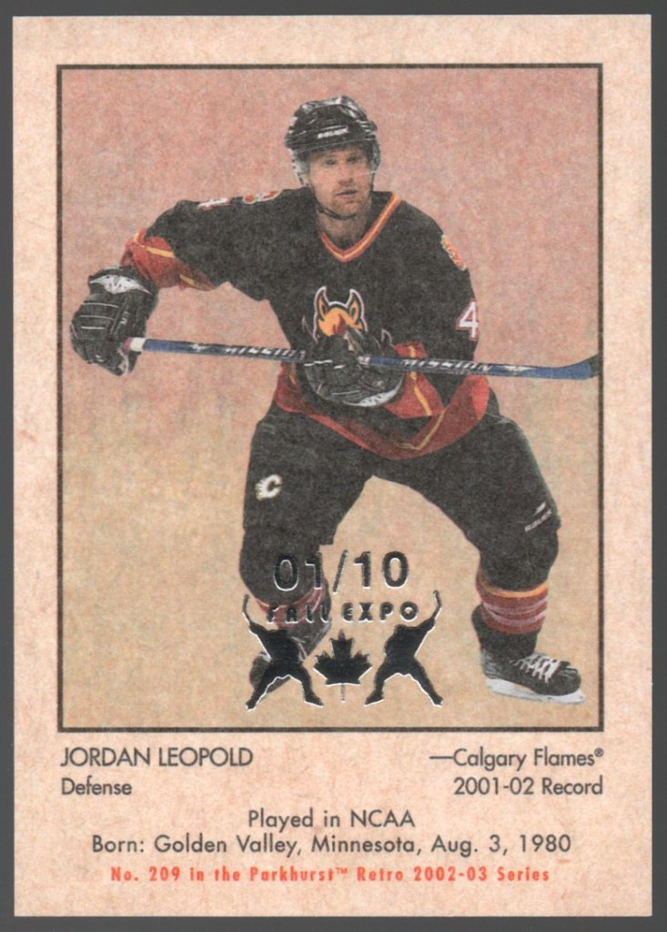 2002-03 In the Game Parkhurst Retro Spring Expo #209 Jordan Leopold /10