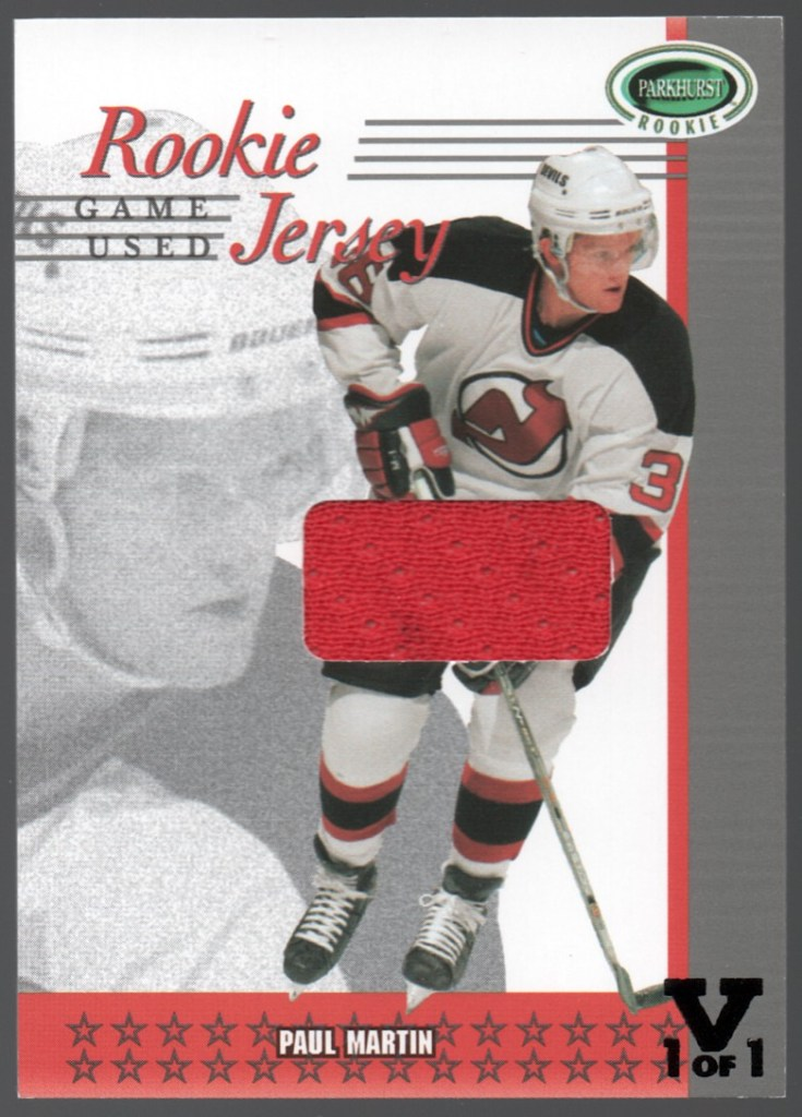 2003-04 In the Game Parkhurst Rookie Rookie Jersey Vault 1 of 1 #RJ-13 Paul Martin