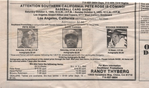 Card show ad from 1985