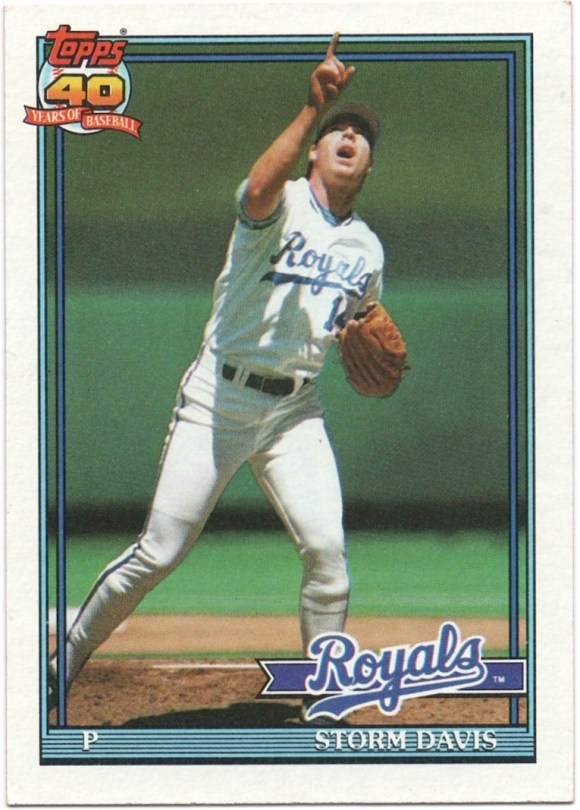 1991 Topps #22 Storm Davis Registration Mark (Corrected)