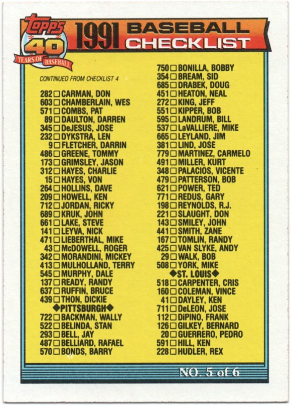 1991 Topps #656 Checklist #348 V.Palacios; #381 J.Lind; #665 J.Leyland; #537 M.LaValliere (Error)