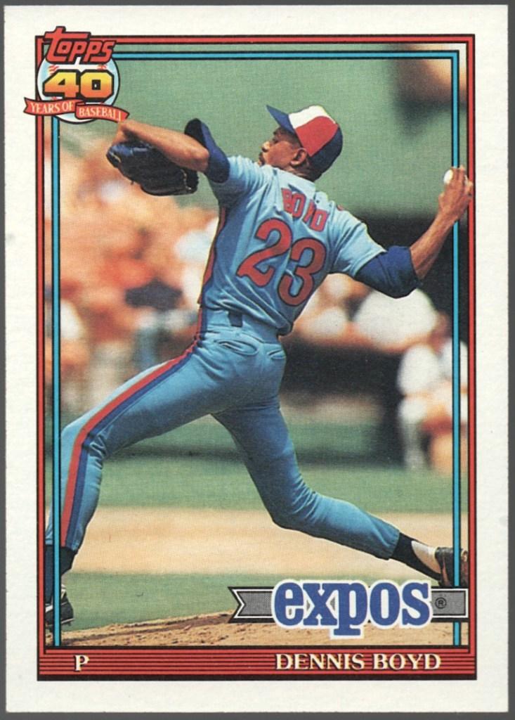 1991 Topps #48 Dennis Boyd (no flag tip)