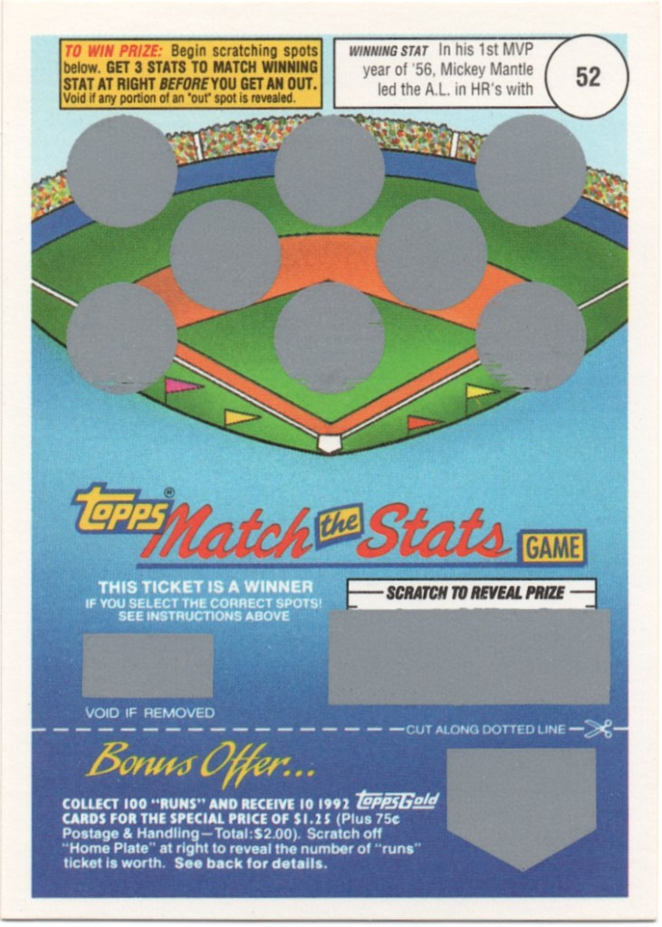 1992 Topps Match The Stats Game Mickey Mantle