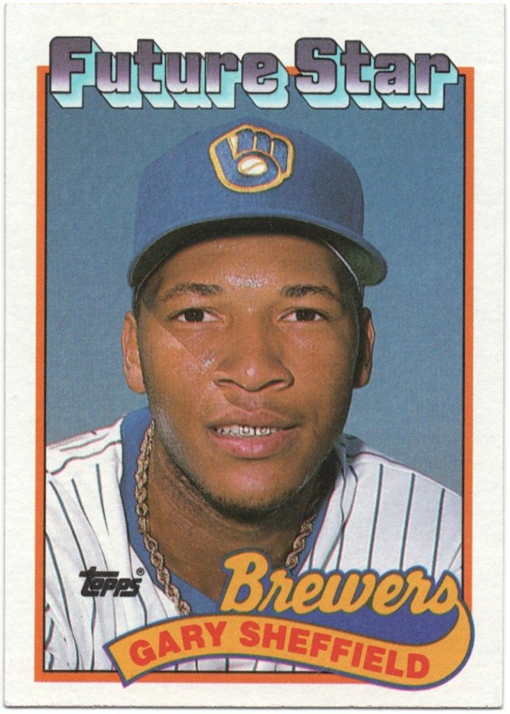 1989 Topps #343 Gary Sheffield (Larger gap between hat and Future Stars header)