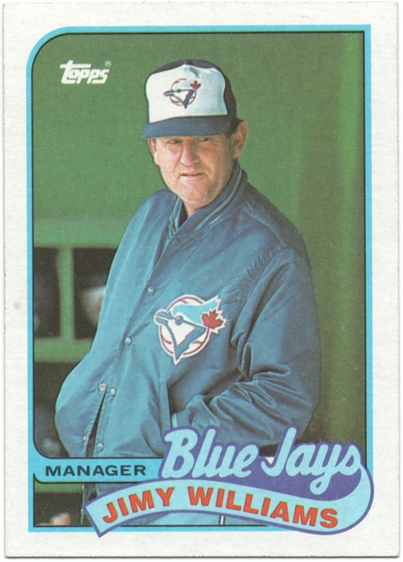 """1989 Topps #594 Jimy Williams (White in space above J in """"Jays"""")"""