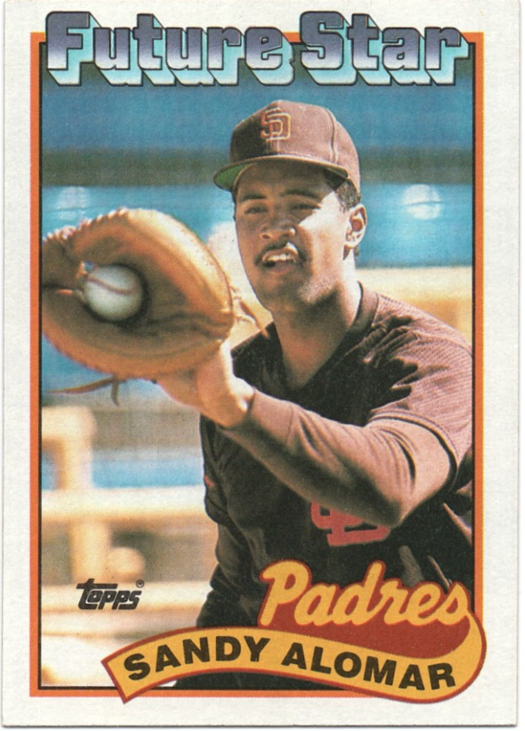 1989 Topps #648 Sandy Alomar (Larger gap between hat and Future Stars header)