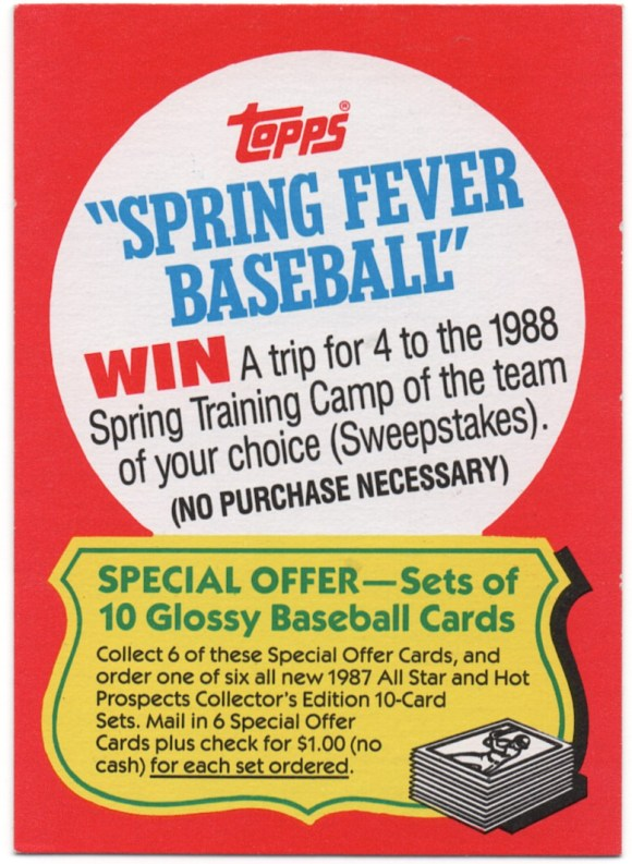 1987 Topps #NNO Spring Fever Special Offer
