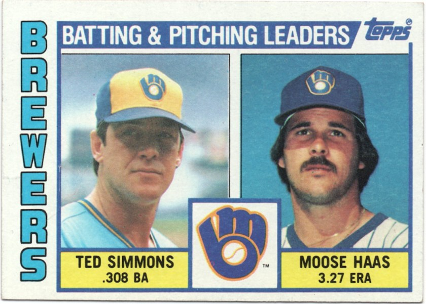 1984 Topps #726 Brewers Team Leaders - Ted Simmons / Moose Haas