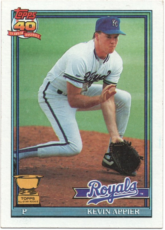 1991 Topps #454 Kevin Appier 90 Omaha line omitted