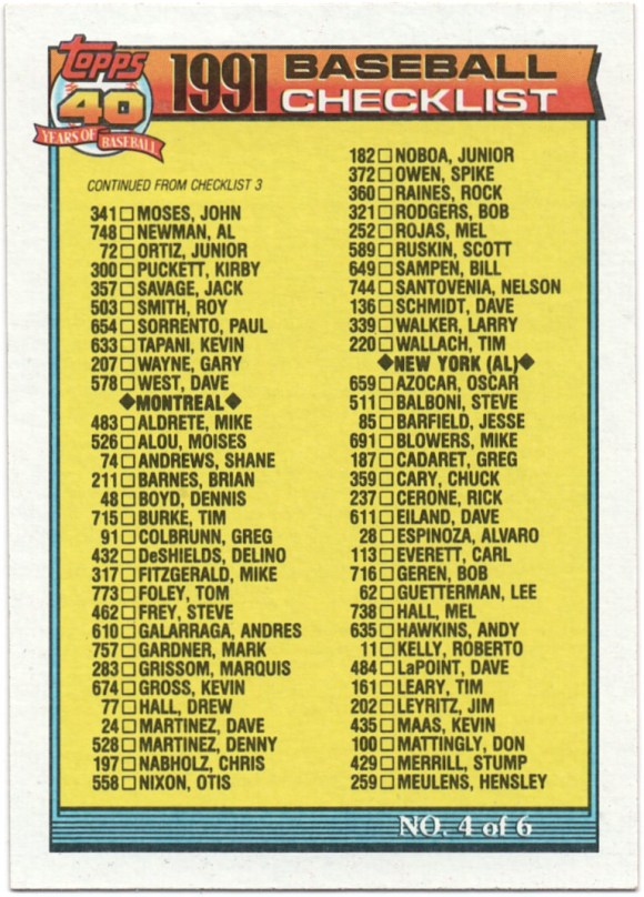1991 Topps #527 Checklist #4 #719 Kevin McReynolds, #105 Keith Miller