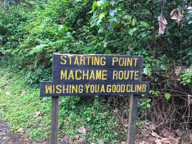 Kilimanjaro Day 1 at Machane Route Starting Sign