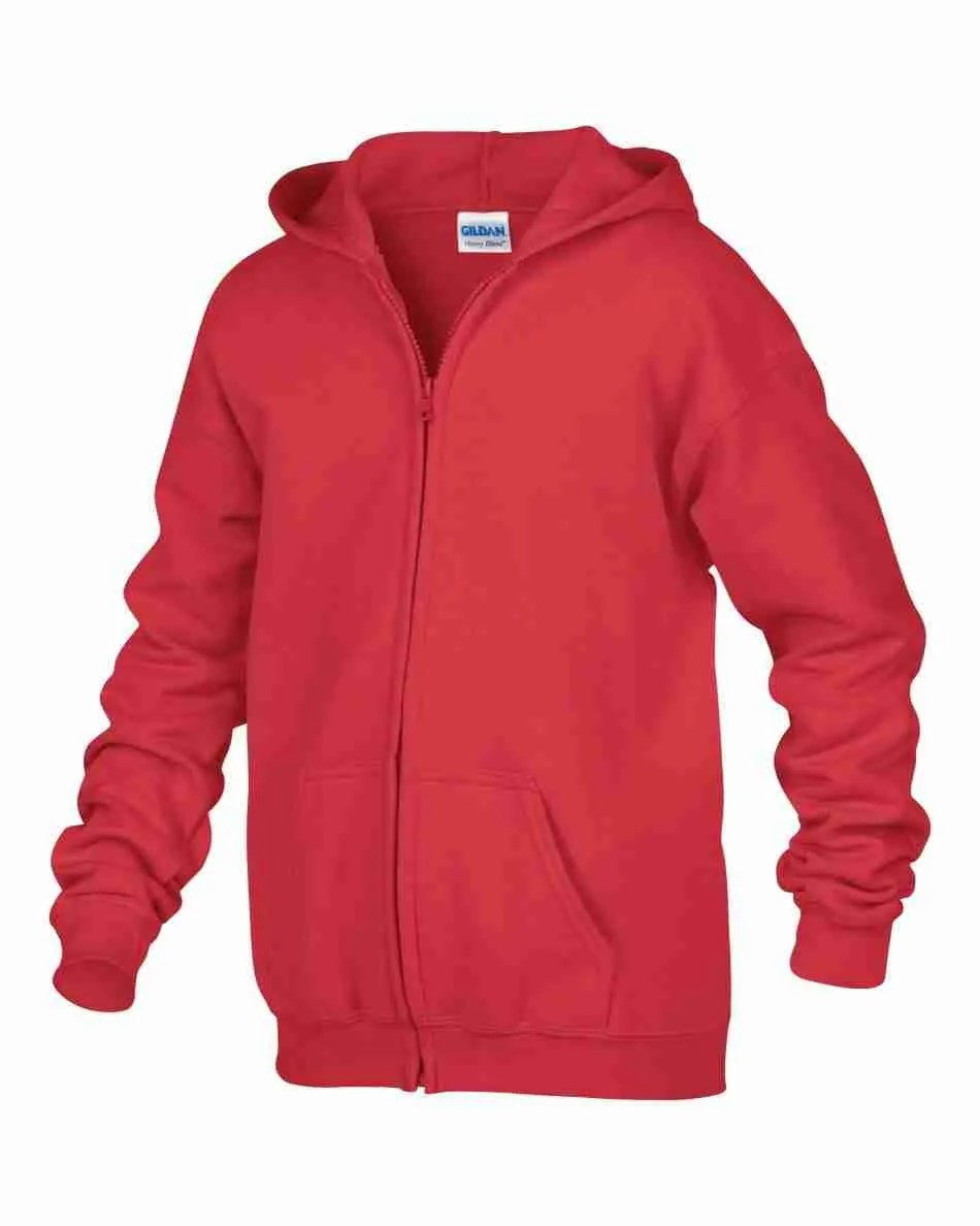 GILDAN HEAVY BLEND FULL ZIP HOODED YOUTH SWEATSHIRT 186B