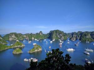 The many cruise ships in Ha Long Bay